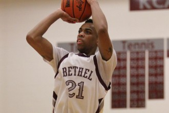 Bethel's RayJon Craig takes a shot during his team's 80-60 win Saturday evening at Thresher Gym. Craig finished with 24 points. Photo by Clint Harden