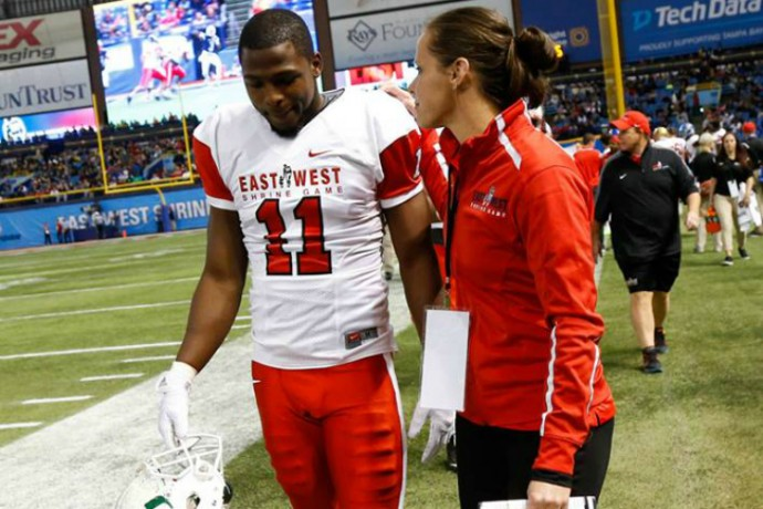 Troy University Online >> Hesston?s Katie Sowers coaches in national Shrine Game