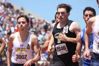 Newton distance runner Robert Loeffler runs in the 1,600-meter race at the state track meet on Saturday at Cessna Stadium. Photo by Mike Mendez