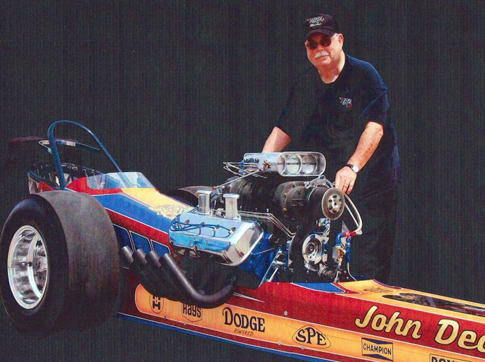 John Dearmore will fire up a dragster around 2:30 p.m. Saturday during the local car show in downtown Newton. Courtesy photo