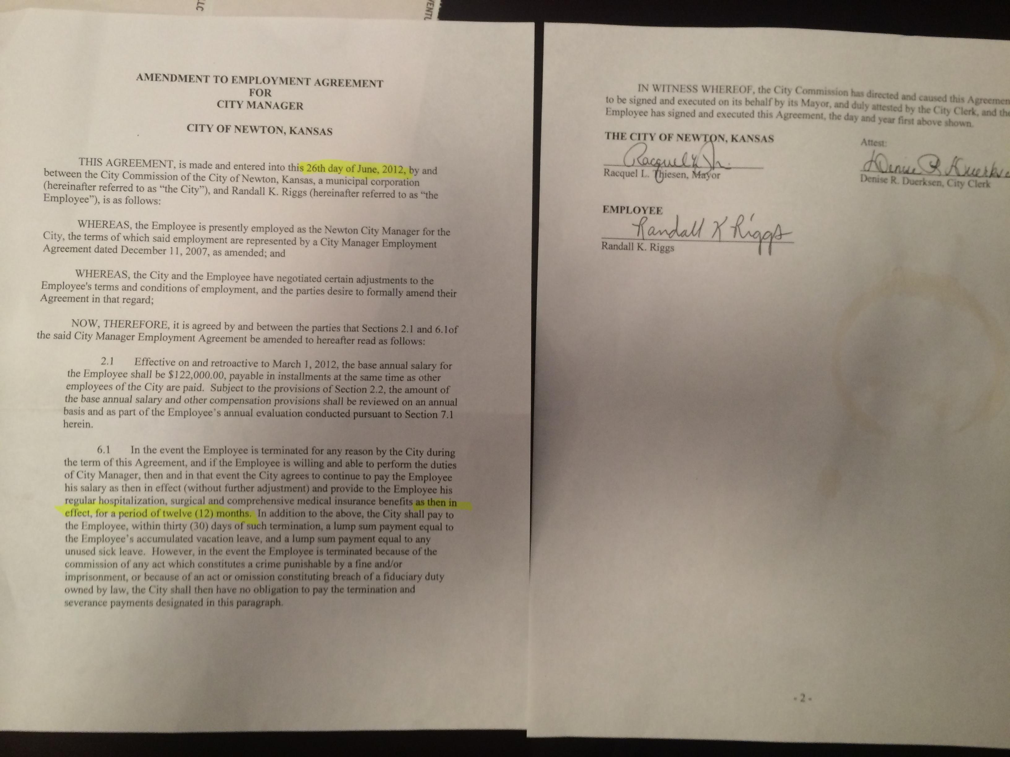 June 26 Randy Riggs Contract