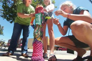 Yarn bombing in Newton: Uncle Carl's campers color the town with projects