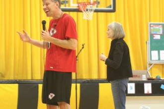 Dan Meers entertains students at Haven Grade School in December of 2014. Meers goes to lots of events as K.C. Wolf, the Kansas City Chiefs mascot. Adam Strunk/File Photo from The Clarion