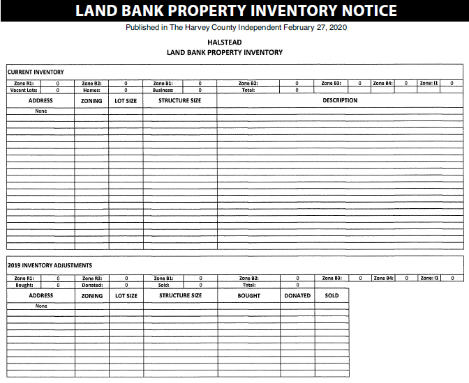 Halstead – Land Bank Property Invnetory Notice