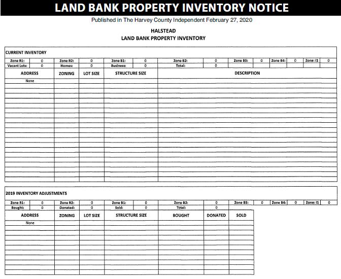 Halstead – Land Bank Property Invnetory Notice