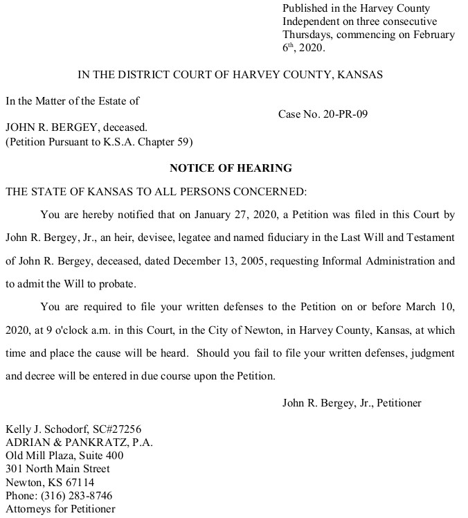 Harvey County – Bergey – Notice of Hearing – Case No. 20-PR-09