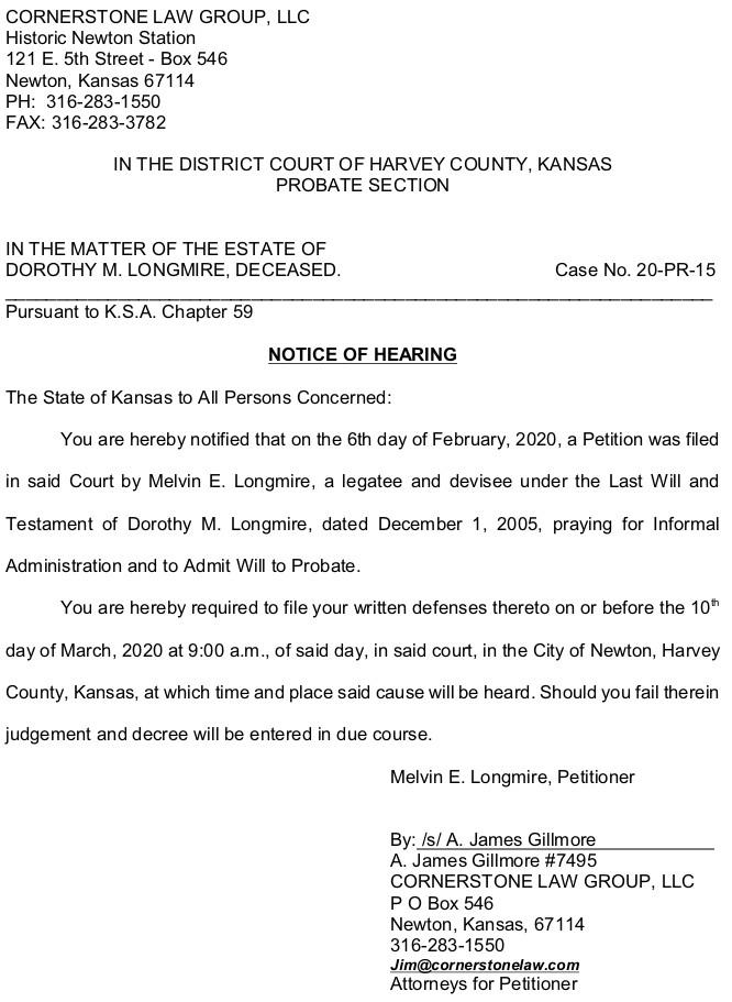 Harvey County – Longmire – Notice of Hearing – Case No. 20-PR-15