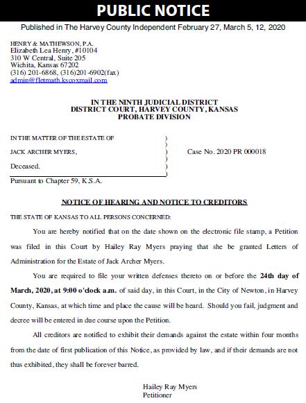 Harvey County Probate – Myers – Case No 2020PR18