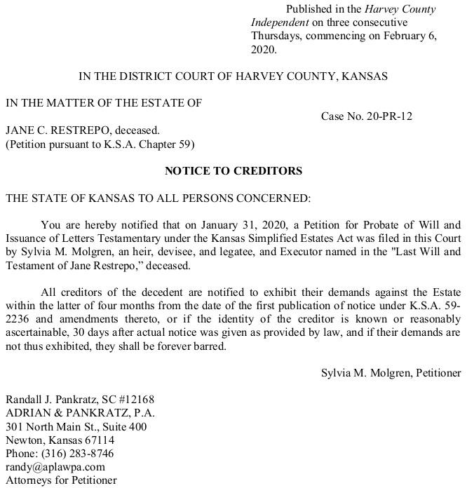 Harvey County – Restrepo – Notice to Creditors – Case No 20-PR-12