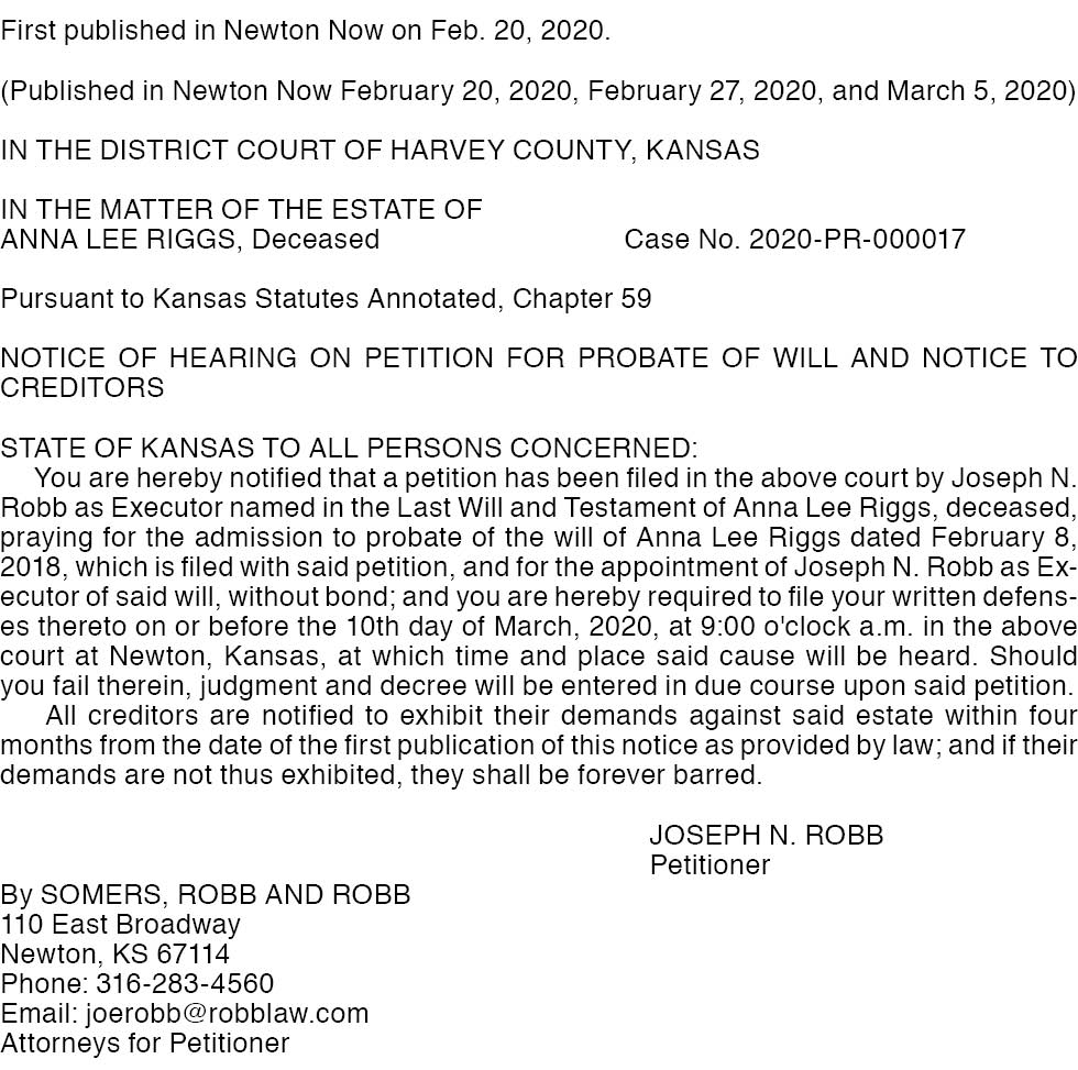Harvey County – Riggs – Case No. 2020-PR-000017