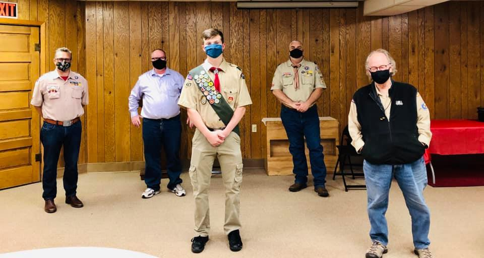 Coleman Kinzer relieved to complete Eagle Scout badge